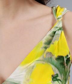 Rochie fluida din saten de matase elastica cu bretele rasucite