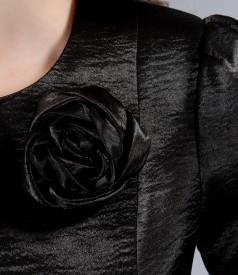 Sacou din saten elastic negru cu floare