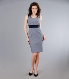 Rochie din bumbac elastic in dungi cu garnitura