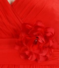 Rochie din voal de matase cu floare