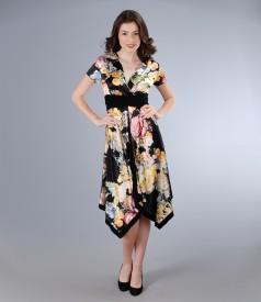 Rochie asimetrica din saten elastic cu imprimeu floral