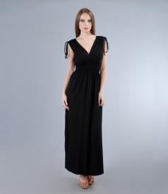 Rochie lunga din jerse elastic cu pieptii suprapusi