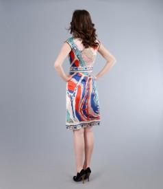 Rochie din matase elastica imprimata cu cordon si falduri - editie limitata