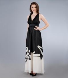 Rochie lunga din voal imprimat cu garnitura si funda de saten
