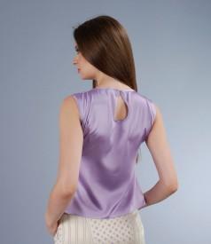 Bluza din saten elastic lila