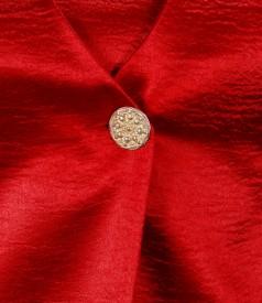 Sacou din saten elastic rosu cu floare