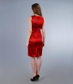Rochie din saten elastic rosu