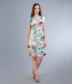 Rochie din saten elastic imprimat