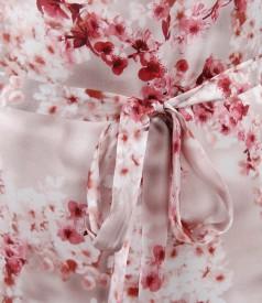 Rochie fluida din saten de matase elastica cu cordon