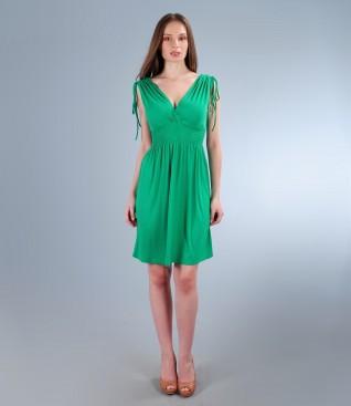 Rochie din jerse elastic cu pieptii suprapusi