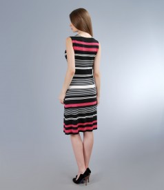 Rochie din jerse elastic imprimat cu decolteu in falduri