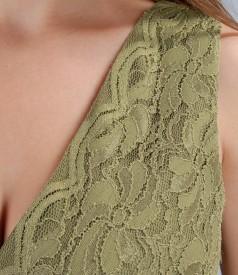Rochie din dantela elastica cu funda de saten