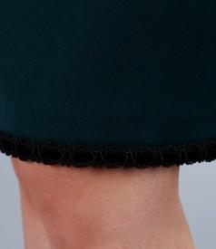 Fusta office din stofa elastica cu garnitura de catifea