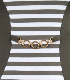 Rochie din jerse elastic cu insertie alb-kaki si accesoriu