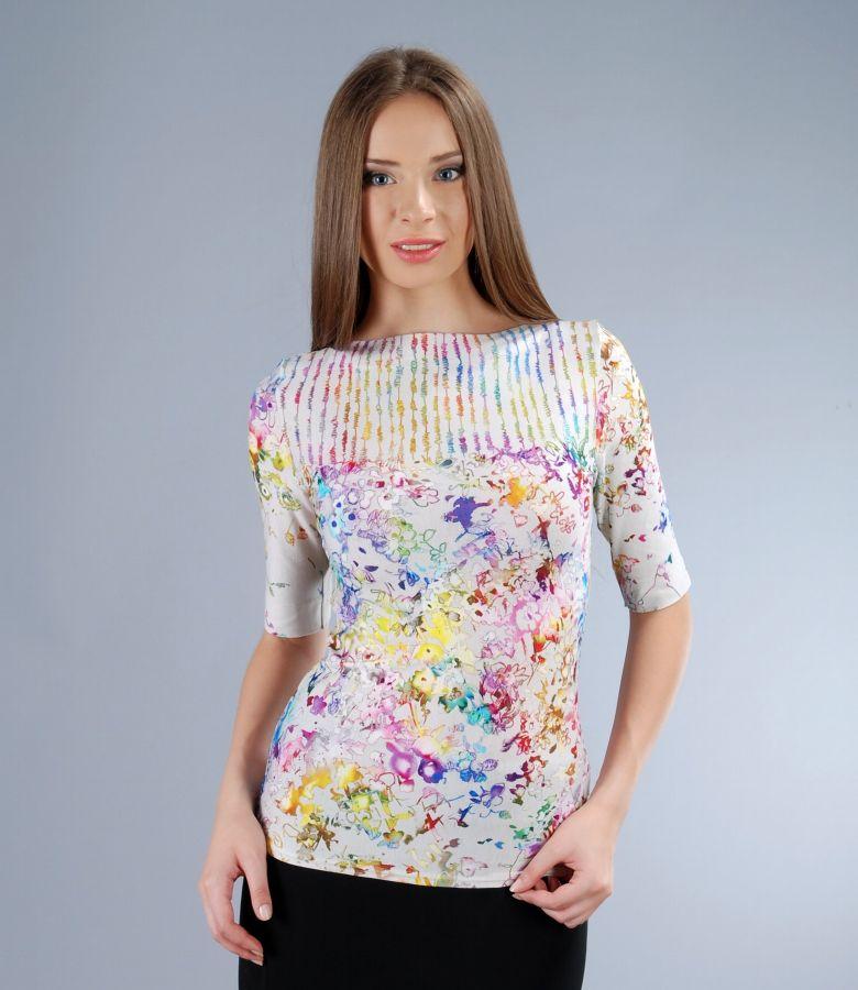 Tricou din jerse elastic cu imprimeu grafic