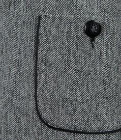 Sacou office din tweed cu garnitura si buzunare
