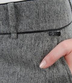 Pantaloni office din tweed cu buzunare