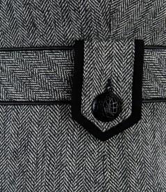 Rochie office din tweed cu cordon