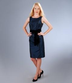 Rochie de seara din tafta bleumarin cu picouri si cordon de catifea