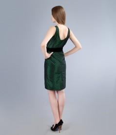 Rochie de seara din tafta verde cu picouri si cordon de catifea