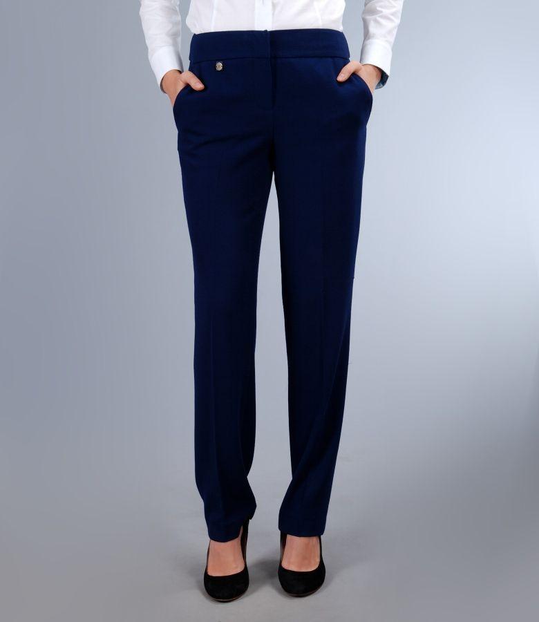 Pantaloni office bleumarin cu buzunare