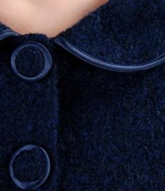 Sacou din bucle bleumarin cu lana si alpaca