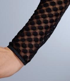 Rochie din jerse elastic cu garnitura de dantela