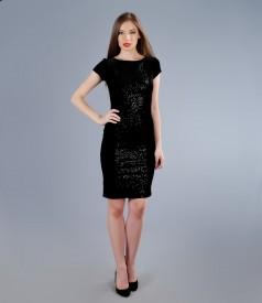 Rochie din catifea elastica cu insertie cu paiete
