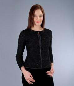 Jacheta din jerse elastic brocat cu fir de efect
