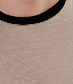 Tricou din jerse elastic cu fermoar metalic