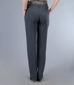 Pantaloni office gri cu buzunare