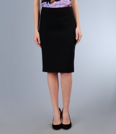 Fusta eleganta din stofa elastica neagra