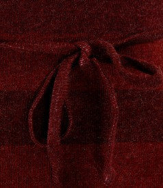 Rochie cu guler din jerse elastic gros imprimat