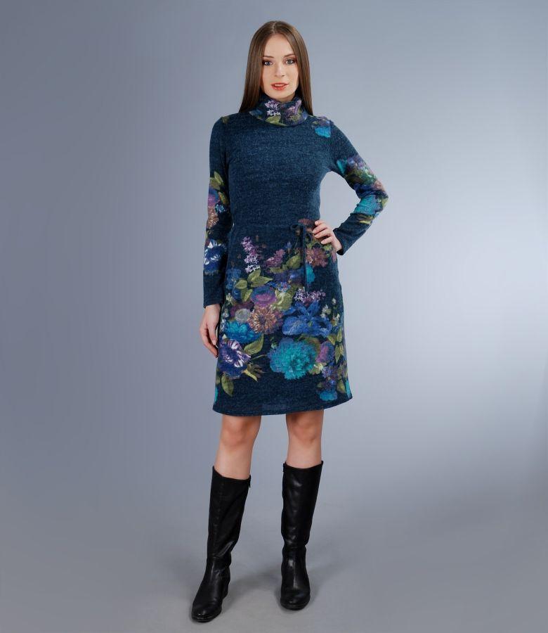 Rochie cu guler din jerse elastic gros cu lana