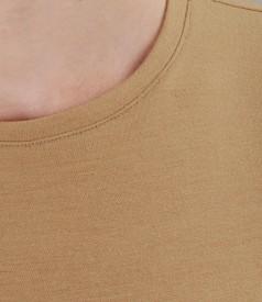 Tricou din jerse elastic gros cu maneci lungi