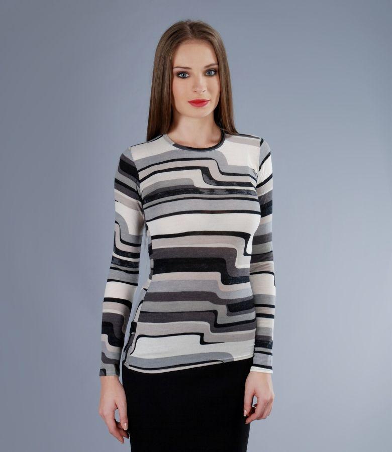 Tricou din jerse elastic imprimat cu lana