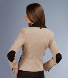 Sacou din lana alpaca cu garnitura de catifea