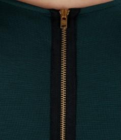 Rochie din jerse elastic cu fermoar metalic