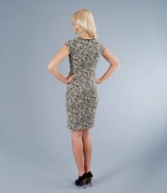 Rochie de ocazie din brocart elastic cu garnitura metalica