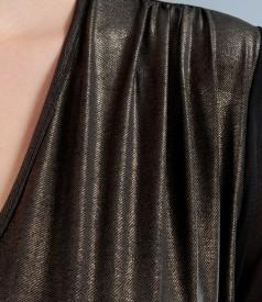 Rochie cu efect peliculizat si maneci din tul