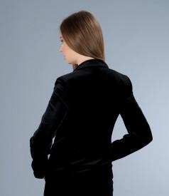 Sacou elegant din catifea elastica neagra
