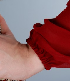 Rochie din brocart multi-color cu fir de efect si voal
