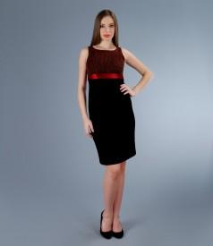 Rochie eleganta din brocart elastic cu cordon