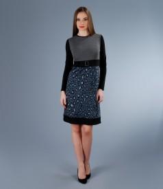 Rochie din jerse elastic cu garnitura si funda