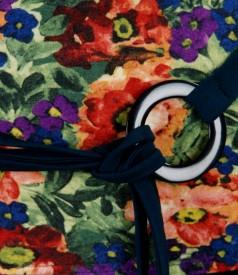 Tricou din jerse elastic imprimat cu cordon