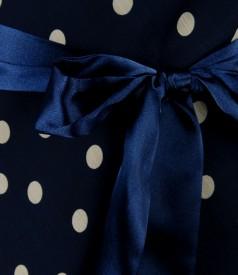 Rochie din voal imprimat cu falduri si cordon saten