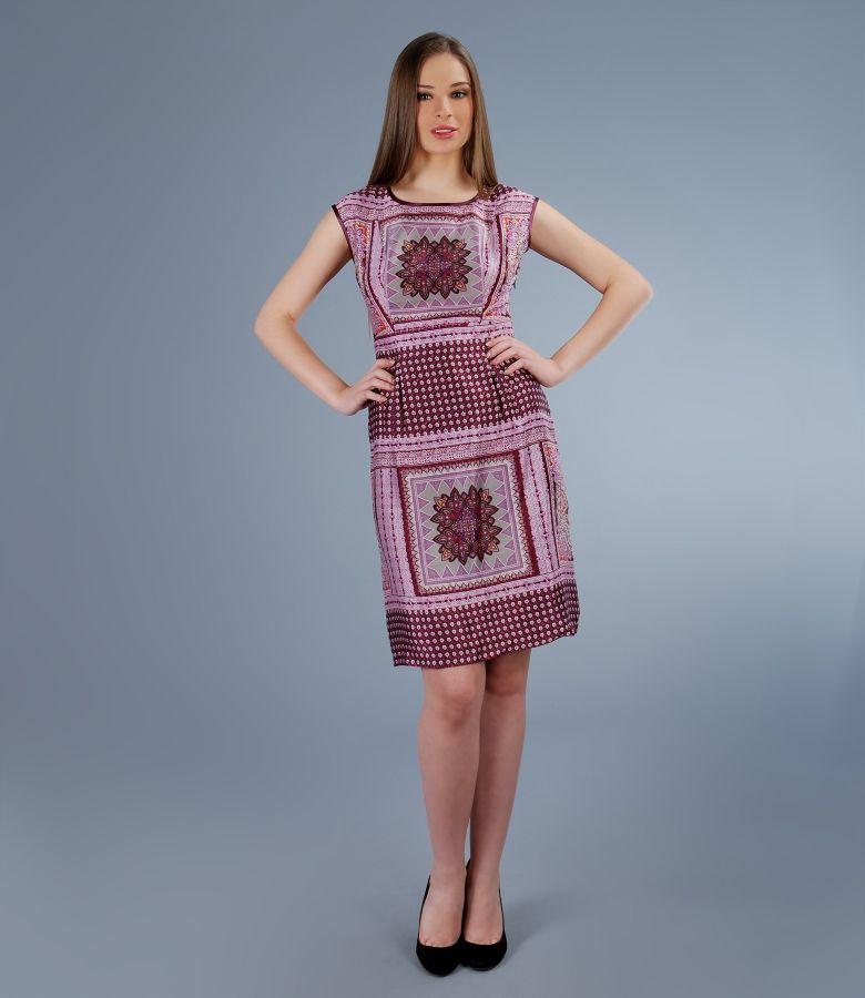 Rochie imprimata cu cordon si falduri