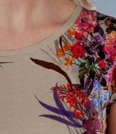 Rochie din jerse imprimat cu umeri cazuti