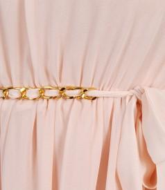 Rochie lunga de voal cu falduri
