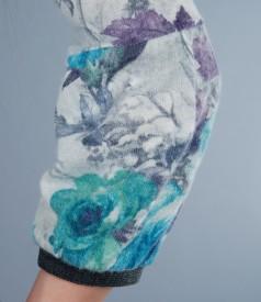 Pulover din jerse elastic cu lana